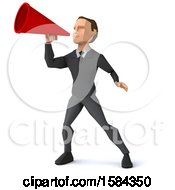 3d Low Poly Caucasian Business Man Using A Megaphone On A White Background