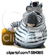 3d Zebra Traveling On A White Background