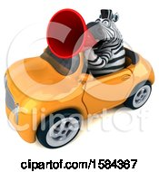 Clipart Of A 3d Zebra Driving A Convertible On A White Background Royalty Free Illustration
