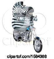 Clipart Of A 3d Zebra Riding A Chopper Motorcycle On A White Background Royalty Free Illustration