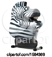 Clipart Of A 3d Zebra Exercising On A Spin Bike On A White Background Royalty Free Illustration