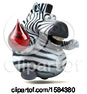 Clipart Of A 3d Zebra Holding A Blood Drop On A White Background Royalty Free Illustration
