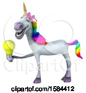 3d Unicorn Holding A Light Bulb On A White Background