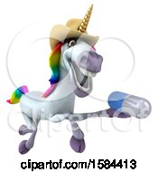 3d Cowboy Unicorn Holding A Pill On A White Background