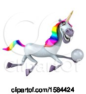 3d Unicorn Holding A Golf Ball On A White Background