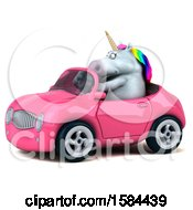 Clipart Of A 3d Chubby Unicorn Driving A Convertible On A White Background Royalty Free Illustration