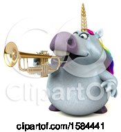 3d Chubby Unicorn Playing A Trumpet On A White Background