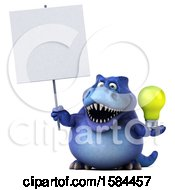 3d Blue T Rex Dinosaur Holding A Light Bulb On A White Background