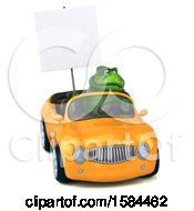 Clipart Of A 3d Green T Rex Dinosaur Driving A Convertible On A White Background Royalty Free Illustration