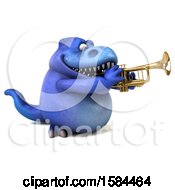 3d Blue T Rex Dinosaur Playing A Trumpet On A White Background