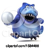 3d Blue T Rex Dinosaur Holding A Golf Ball On A White Background