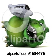 Clipart Of A 3d Green T Rex Dinosaur Holding A Plane On A White Background Royalty Free Illustration