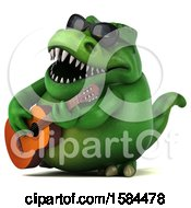 3d Green T Rex Dinosaur Playing A Guitar On A White Background