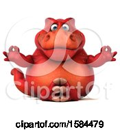 Clipart Of A 3d Red T Rex Dinosaur Meditating On A White Background Royalty Free Illustration