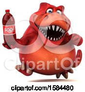 Clipart Of A 3d Red T Rex Dinosaur Holding A Soda On A White Background Royalty Free Illustration