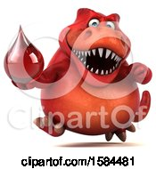 Clipart Of A 3d Red T Rex Dinosaur Holding A Blood Drop On A White Background Royalty Free Illustration