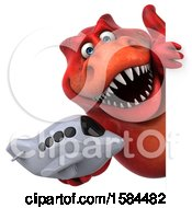 Clipart Of A 3d Red T Rex Dinosaur Holding A Plane On A White Background Royalty Free Illustration
