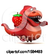 Clipart Of A 3d Red T Rex Dinosaur Holding A Strawberry On A White Background Royalty Free Illustration