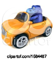Clipart Of A 3d Blue T Rex Dinosaur Driving A Convertible On A White Background Royalty Free Illustration