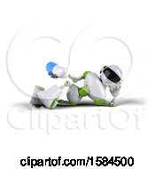 3d Green And White Robot Holding A Pill On A White Background