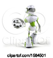 Poster, Art Print Of 3d Green And White Robot Holding A Car On A White Background