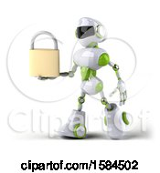 Poster, Art Print Of 3d Green And White Robot Holding A Padlock On A White Background