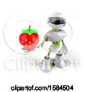 3d Green And White Robot Holding A Strawberry On A White Background