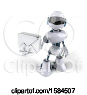 3d Blue And White Robot Holding An Envelope On A White Background
