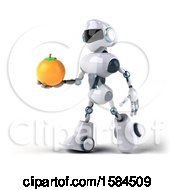 Poster, Art Print Of 3d Blue And White Robot Holding An Orange On A White Background