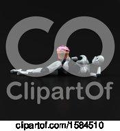 3d Feminine Robot Holding A Cupcake On A Black Background