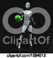 Poster, Art Print Of 3d Feminine Robot Holding An Apple On A Black Background