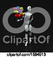 Poster, Art Print Of 3d Feminine Robot Holding Messages On A Black Background