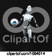 Poster, Art Print Of 3d Feminine Robot Holding An Eyeball On A Black Background