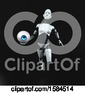 Clipart Of A 3d Feminine Robot Holding An Eyeball On A Black Background Royalty Free Illustration