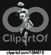 Clipart Of A 3d Feminine Robot Holding A Tooth On A Black Background Royalty Free Illustration