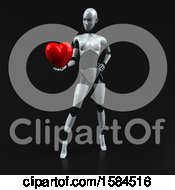 Clipart Of A 3d Feminine Robot Holding A Heart On A Black Background Royalty Free Illustration