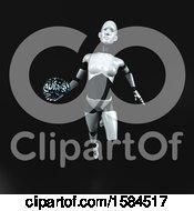 Poster, Art Print Of 3d Feminine Robot Holding A Brain On A Black Background