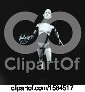 Clipart Of A 3d Feminine Robot Holding A Brain On A Black Background Royalty Free Illustration