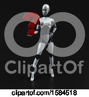 Poster, Art Print Of 3d Feminine Robot Holding A Question Mark On A Black Background
