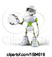 Poster, Art Print Of 3d Green And White Robot Holding A Cloud On A White Background