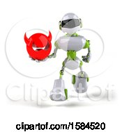 3d Green And White Robot Holding A Devil On A White Background