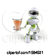 Poster, Art Print Of 3d Green And White Robot Holding A Beer On A White Background