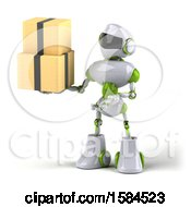 Poster, Art Print Of 3d Green And White Robot Holding Boxes On A White Background