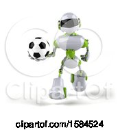 Poster, Art Print Of 3d Green And White Robot Holding A Soccer Ball On A White Background