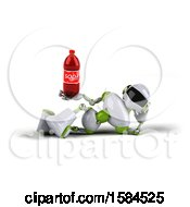 Poster, Art Print Of 3d Green And White Robot Holding A Soda On A White Background