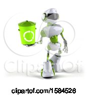 Poster, Art Print Of 3d Green And White Robot Holding A Recycle Bin On A White Background