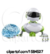 3d Green And White Robot Holding A Brain On A White Background