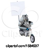 Clipart Of A 3d Chubby White Business Horse Riding A Chopper Motorcycle On A White Background Royalty Free Illustration