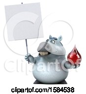 Clipart Of A 3d Chubby White Horse Holding A Blood Drop On A White Background Royalty Free Illustration