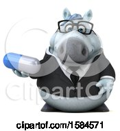 3d Chubby White Business Horse Holding A Pill On A White Background